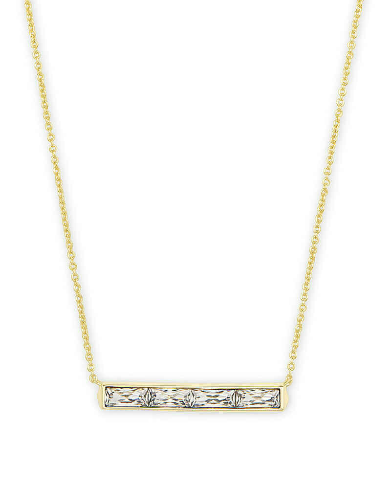 Kendra Scott Jack Gold Pendant Necklace in Clear Crystal
