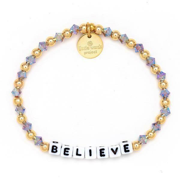 Little Words Project White BELIEVE Bracelet (Gold-Filled)