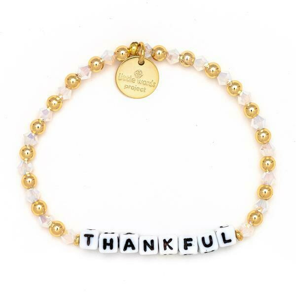 Little Words Project White THANKFUL Bracelet (Gold-Filled)