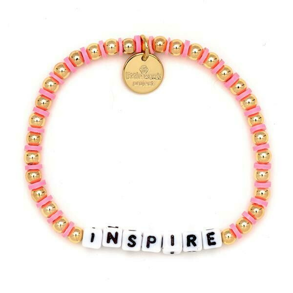 Little Words Project White INSPIRE Bracelet (Gold-Filled)
