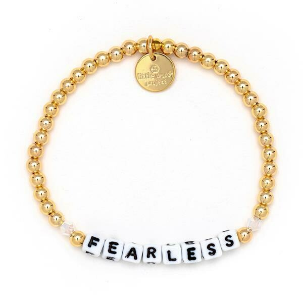Little Words Project White FEARLESS Bracelet (Gold-Filled)
