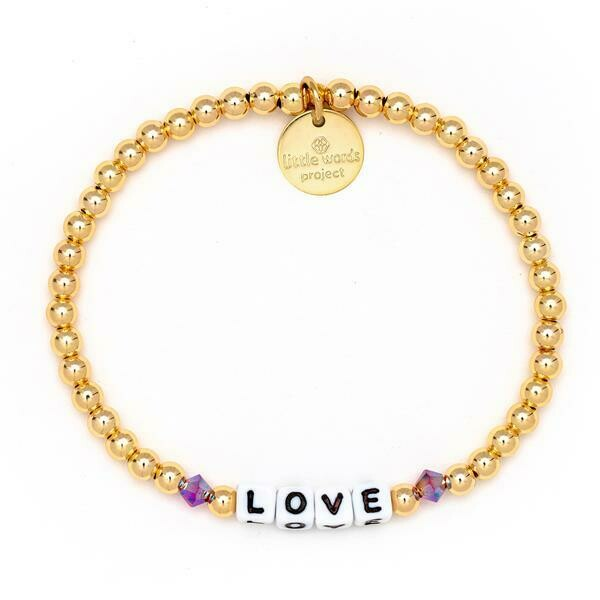 Little Words Project White LOVE Bracelet (Gold-Filled)