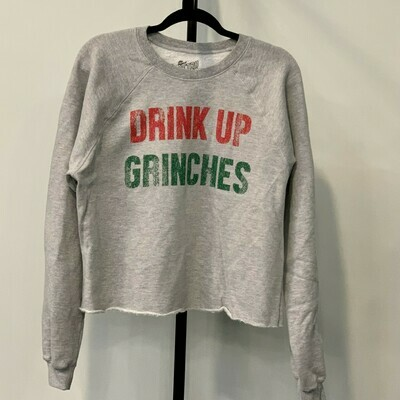 DRINK UP GRINCHES Cropped Crew Sweatshirt
