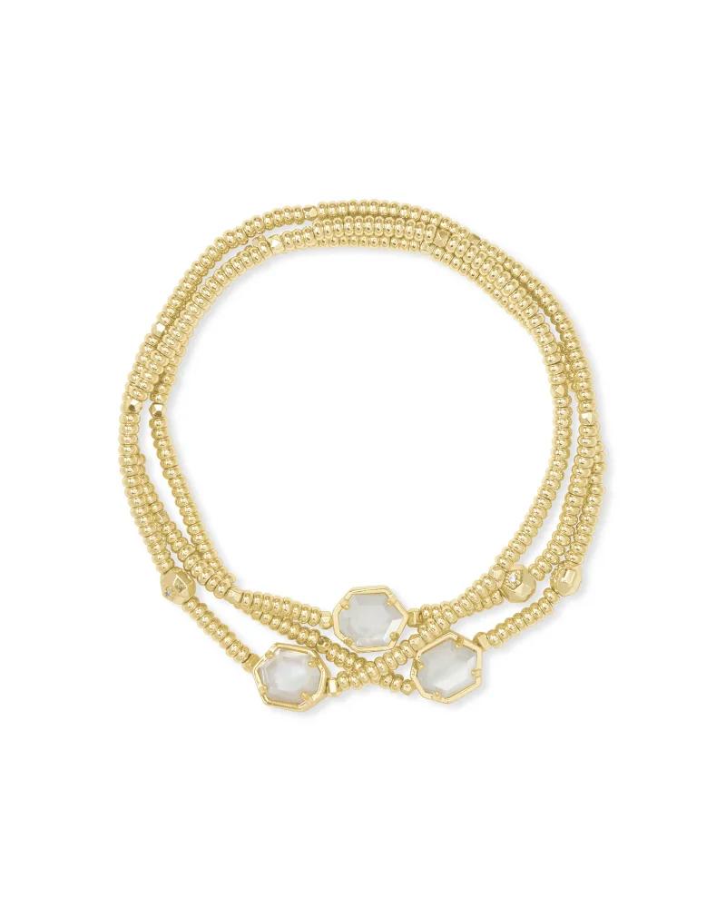 Kendra Scott Tomon Gold Stretch Bracelet in Ivory Mother-Of-Pearl