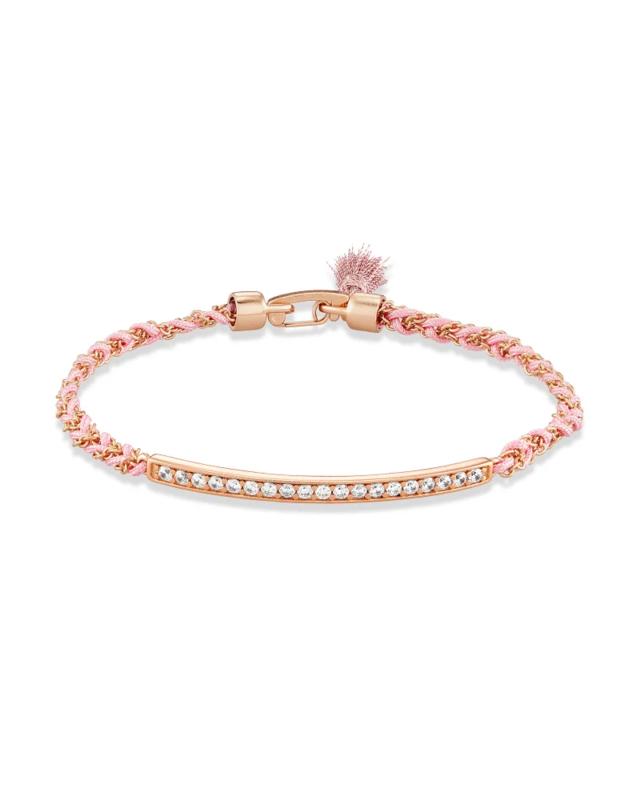 Kendra Scott Addison Rose Gold Friendship Bracelet in Pink Cord