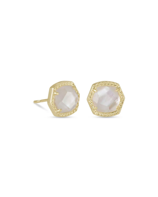 Kendra Scott Davie Gold Stud Earrings in Ivory Mother-Of-Pearl