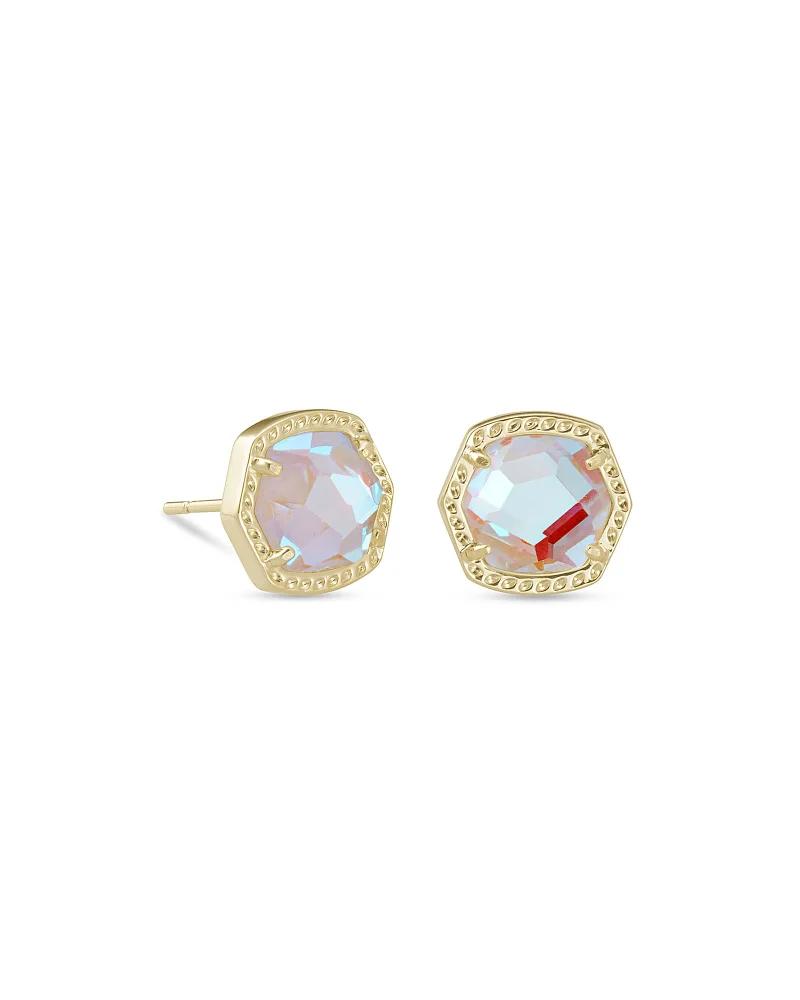 Kendra Scott Davie Gold Stud Earrings in Dichroic Glass