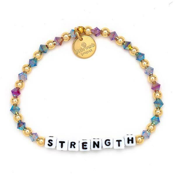 Little Words Project White STRENGTH Bracelet (Gold-Filled)
