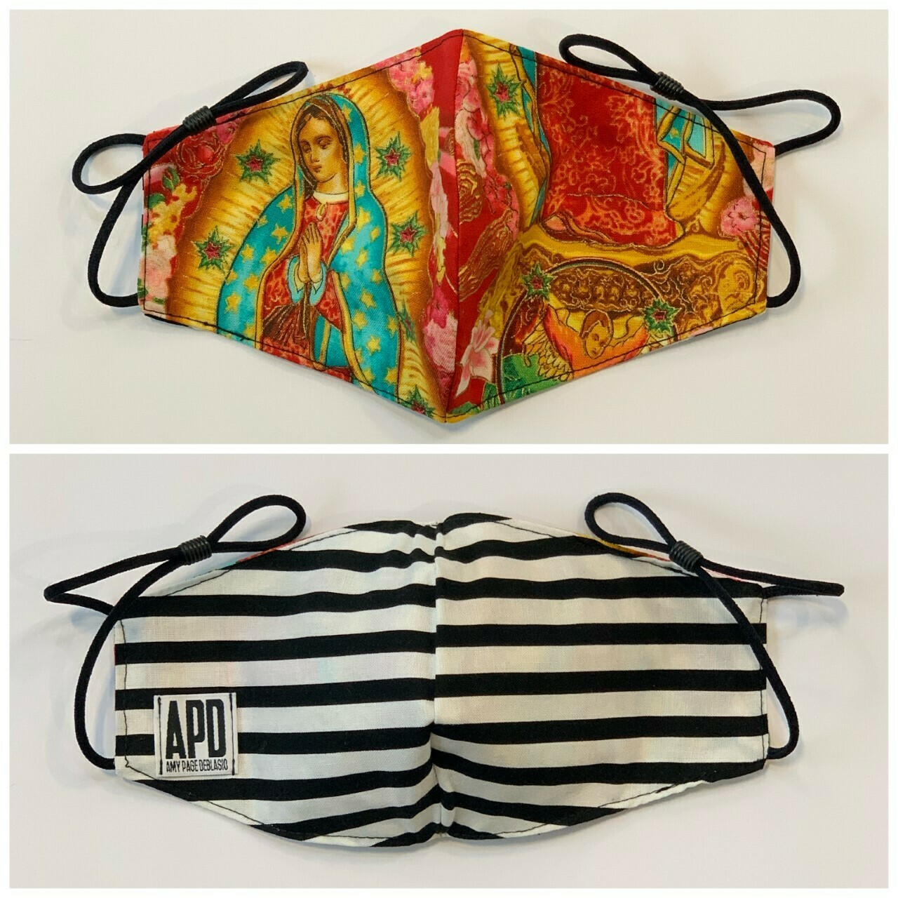 APD Blessed Mother/Stripe Reversible Face Mask