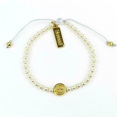 MSMH Benedictine Pearl Birthday Blessing Bracelet (Gold)