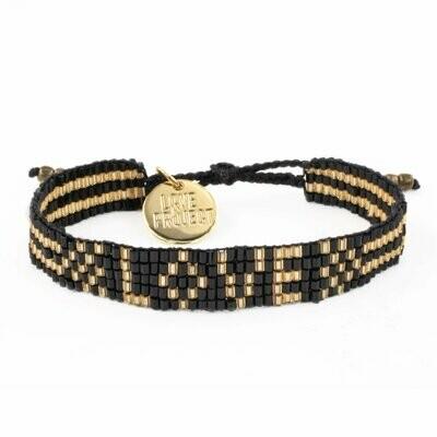 Love is Project Seed Bead Love Bracelet - Black/Gold