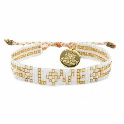 Love is Project Seed Bead Love Bracelet - White/Gold