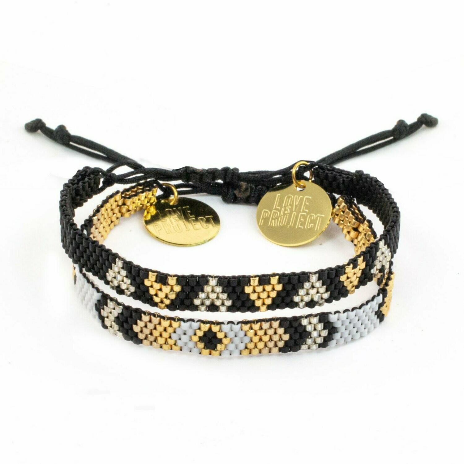 Love is Project Chaquira Bracelet Set of 2 - Black/Gold