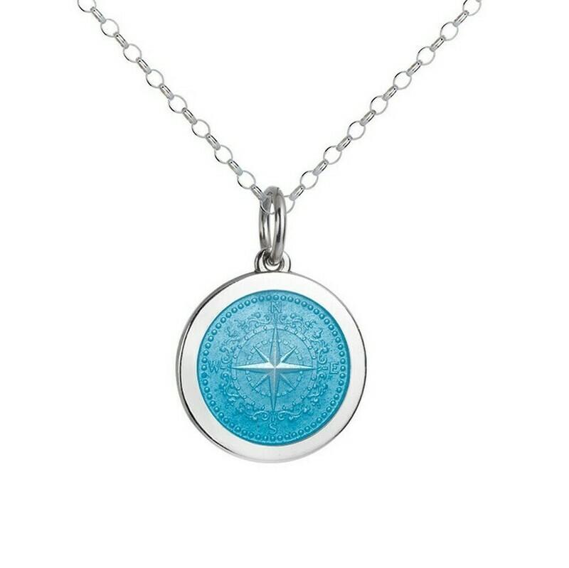 Colby Davis Compass Pendant, Medium/Light Blue