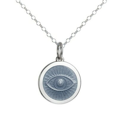 Colby Davis Evil Eye Pendant, Medium/Gray