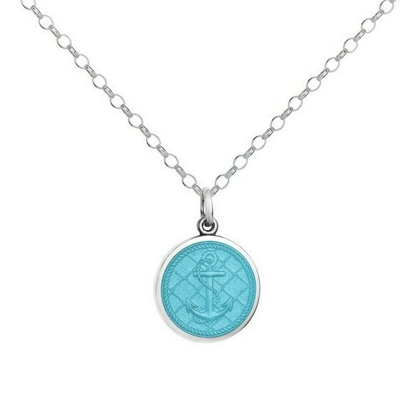 Colby Davis Anchor Pendant, Small/Light Blue