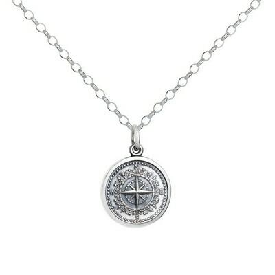 Colby Davis Compass Pendant, Small/Oxidized Silver