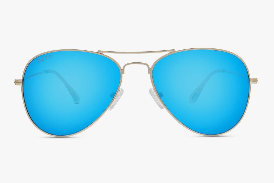 DIFF Cruz - Gold/Blue Mirror