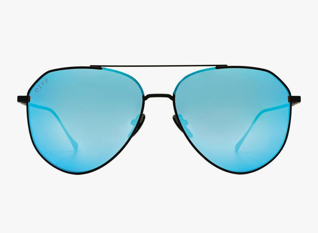 DIFF Dash - Matte Black/Blue Mirror Polarized