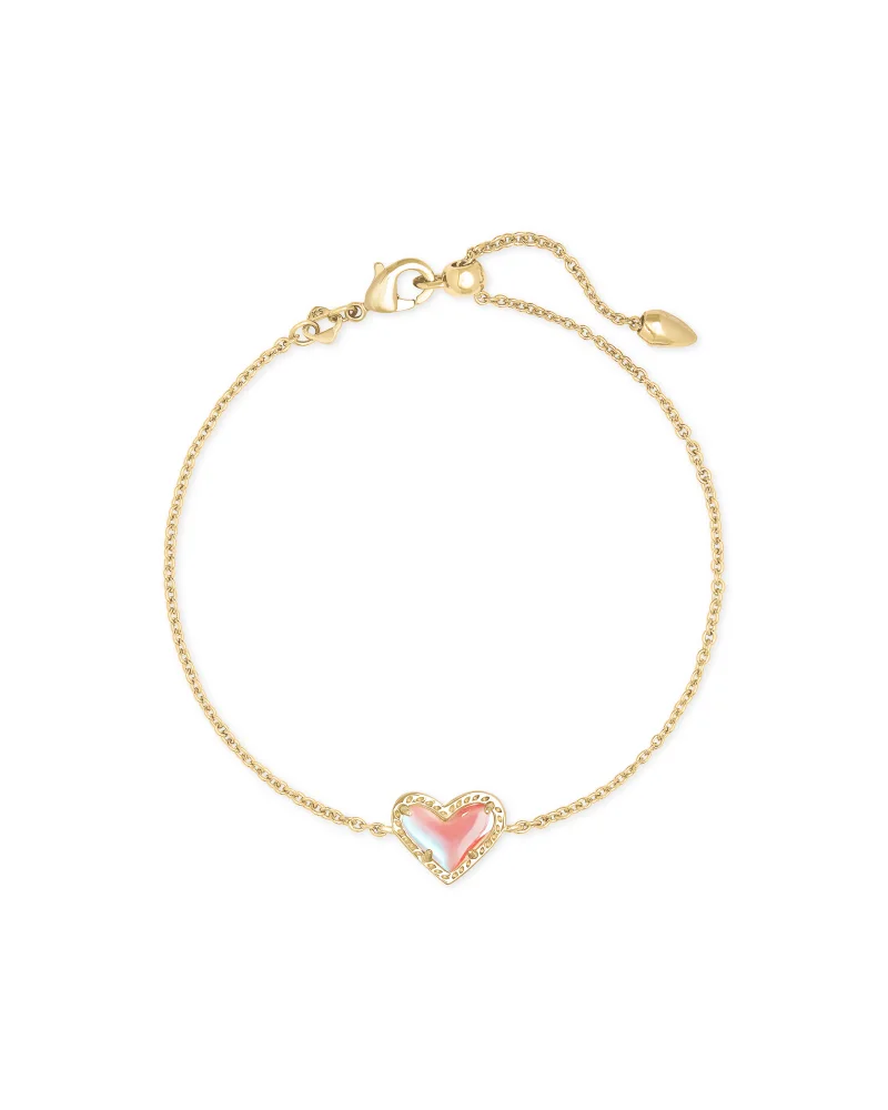 Kendra Scott Ari Heart Gold Chain Bracelet in Dichroic Glass