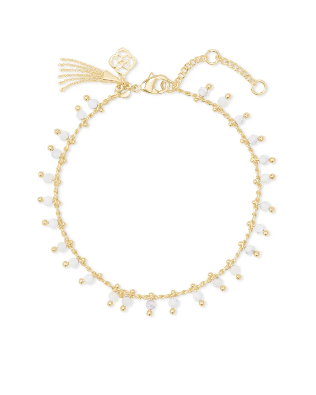 Kendra Scott Jenna Gold Delicate Chain Bracelet in White Howlite