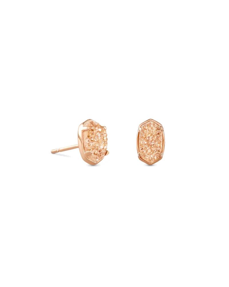 Kendra Scott Emilie Rose Gold Stud Earrings In Sand Drusy
