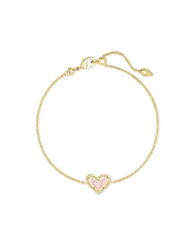 Kendra Scott Ari Heart Gold Chain Bracelet in Iridescent Drusy