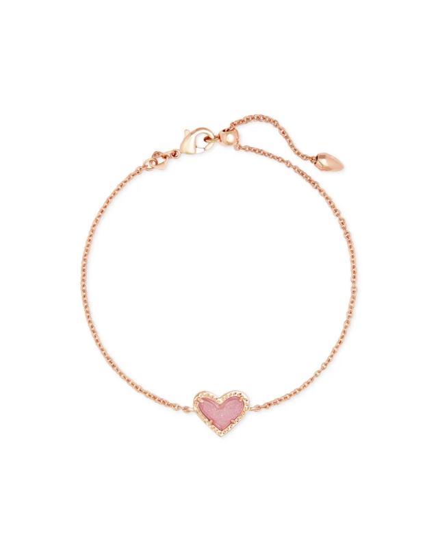 Kendra Scott Ari Heart Rose Gold Chain Bracelet in Light Pink Drusy