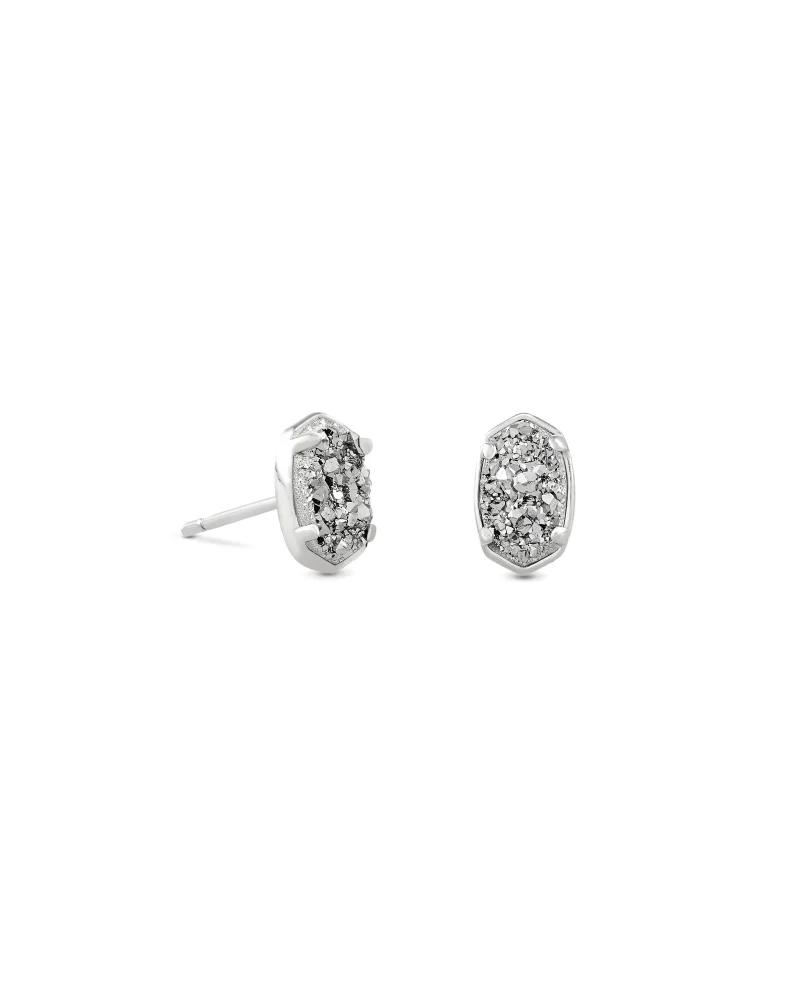 Kendra Scott Emilie Silver Stud Earrings in Platinum Drusy
