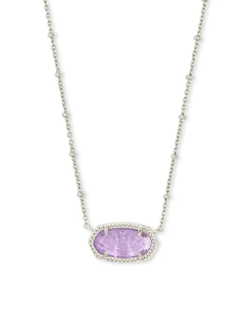 Kendra Scott Elisa Satellite Silver Pendant Necklace in Purple Amethyst