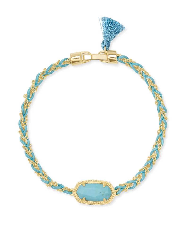 Kendra Scott Elaina Braided Gold Friendship Bracelet in Light Blue Magnesite