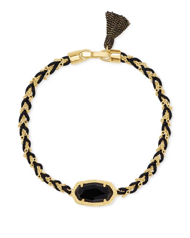 Kendra Scott Elaina Braided Gold Friendship Bracelet in Black Obsidian