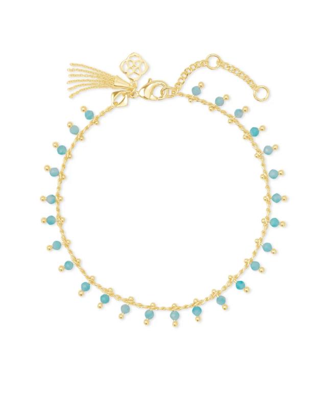 Kendra Scott Jenna Gold Delicate Chain Bracelet in Teal Amazonite