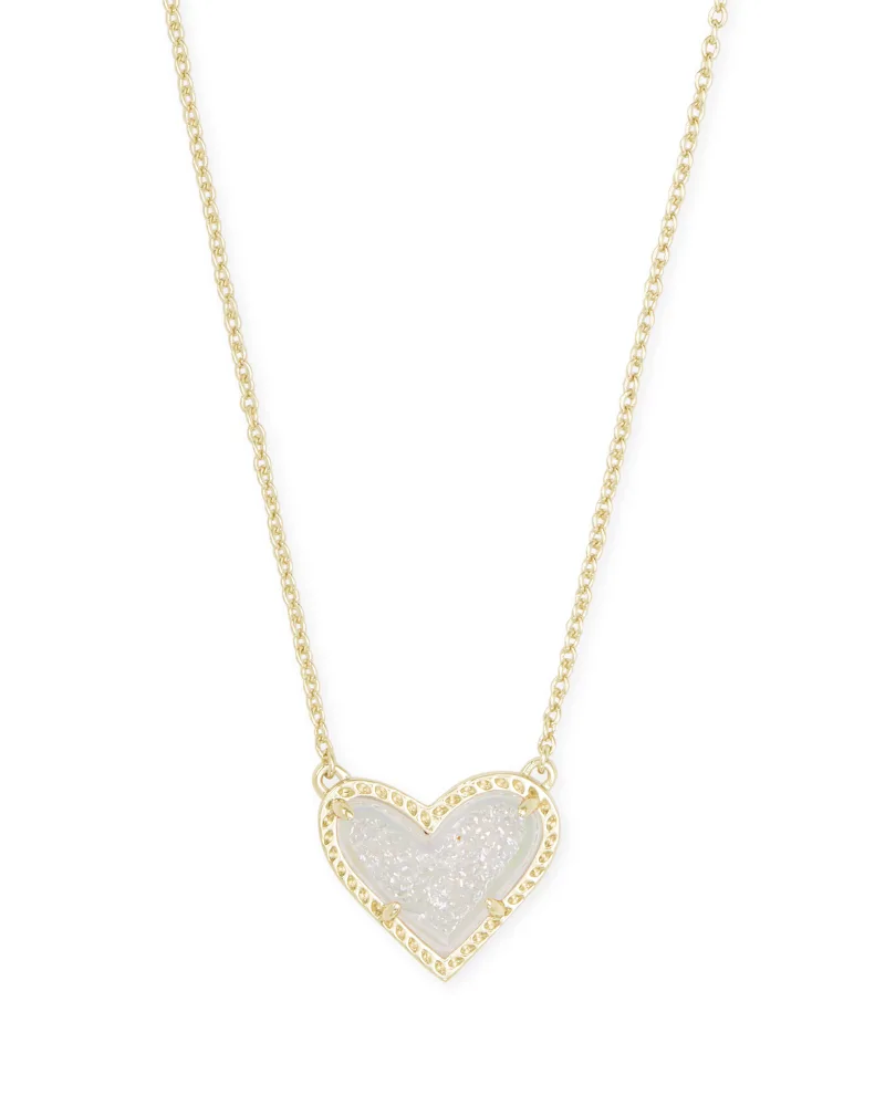 Kendra Scott Ari Heart Gold Pendant Necklace in Iridescent Drusy
