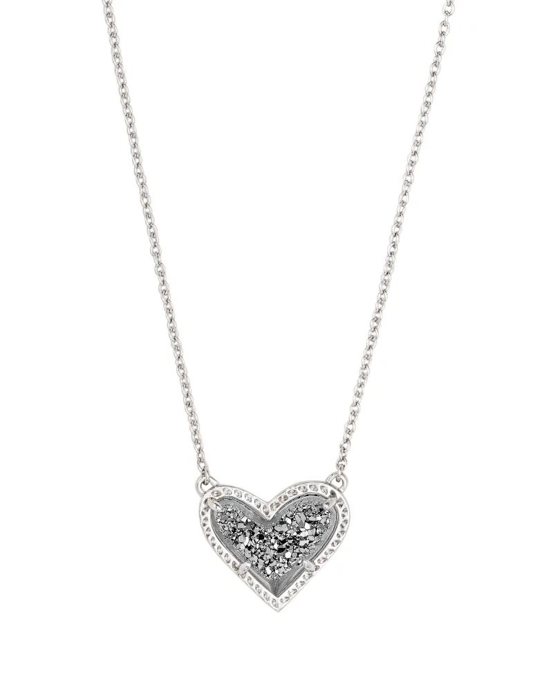 Kendra Scott Ari Heart Silver Pendant Necklace in Platinum Drusy