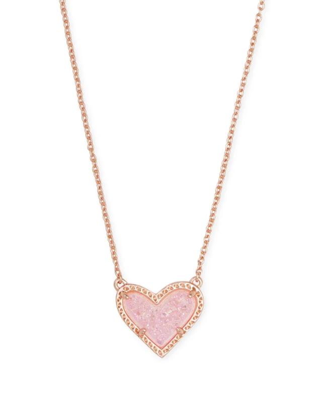 Kendra Scott Ari Heart Rose Gold Pendant Necklace in Light Pink Drusy