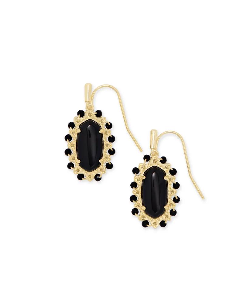 Kendra Scott Beaded Lee Gold Drop Earrings in Black Obsidian