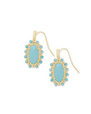 Kendra Scott Beaded Lee Gold Drop Earrings in Light Blue Magnesite