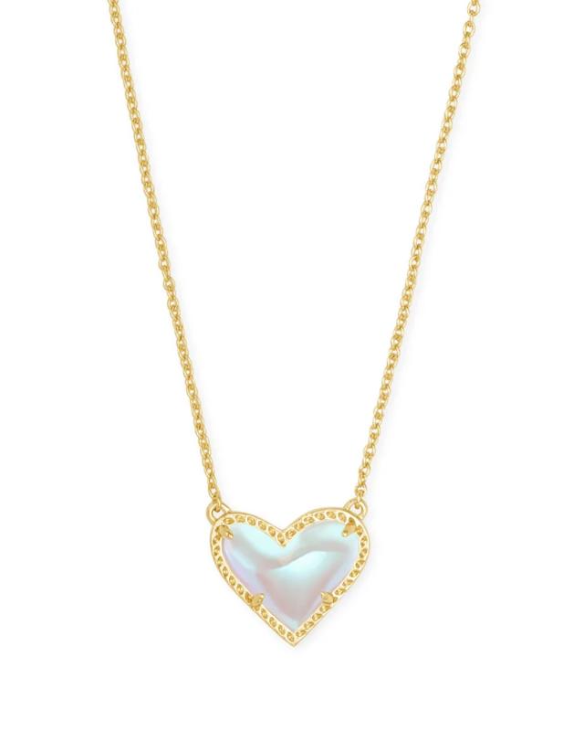 Kendra Scott Ari Heart Gold Pendant Necklace in Dichroic Glass