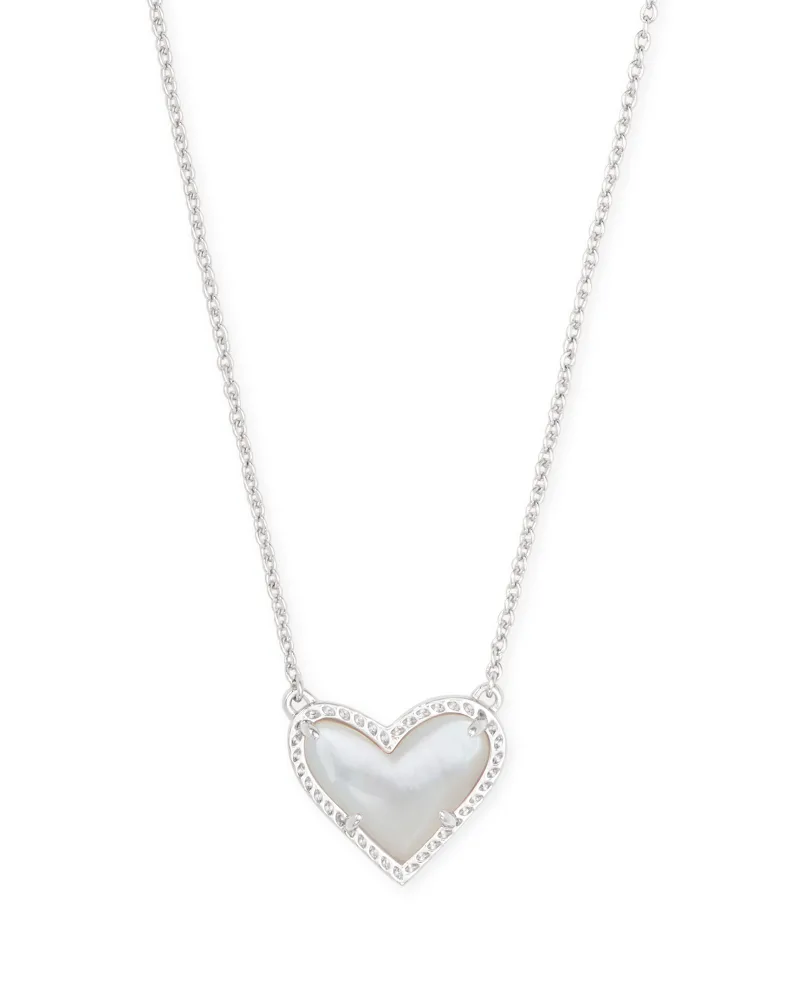 Kendra Scott Ari Heart Silver Pendant Necklace in Ivory Mother-of-Pearl