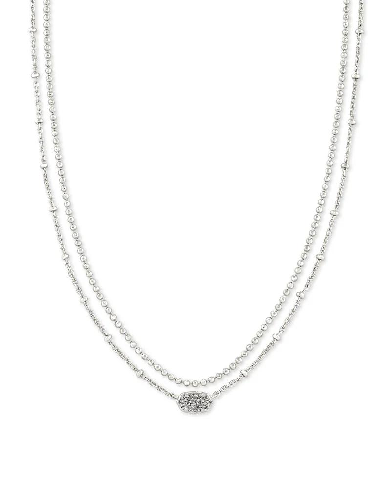 Kendra Scott Emilie Silver Multi Strand Necklace in Platinum Drusy