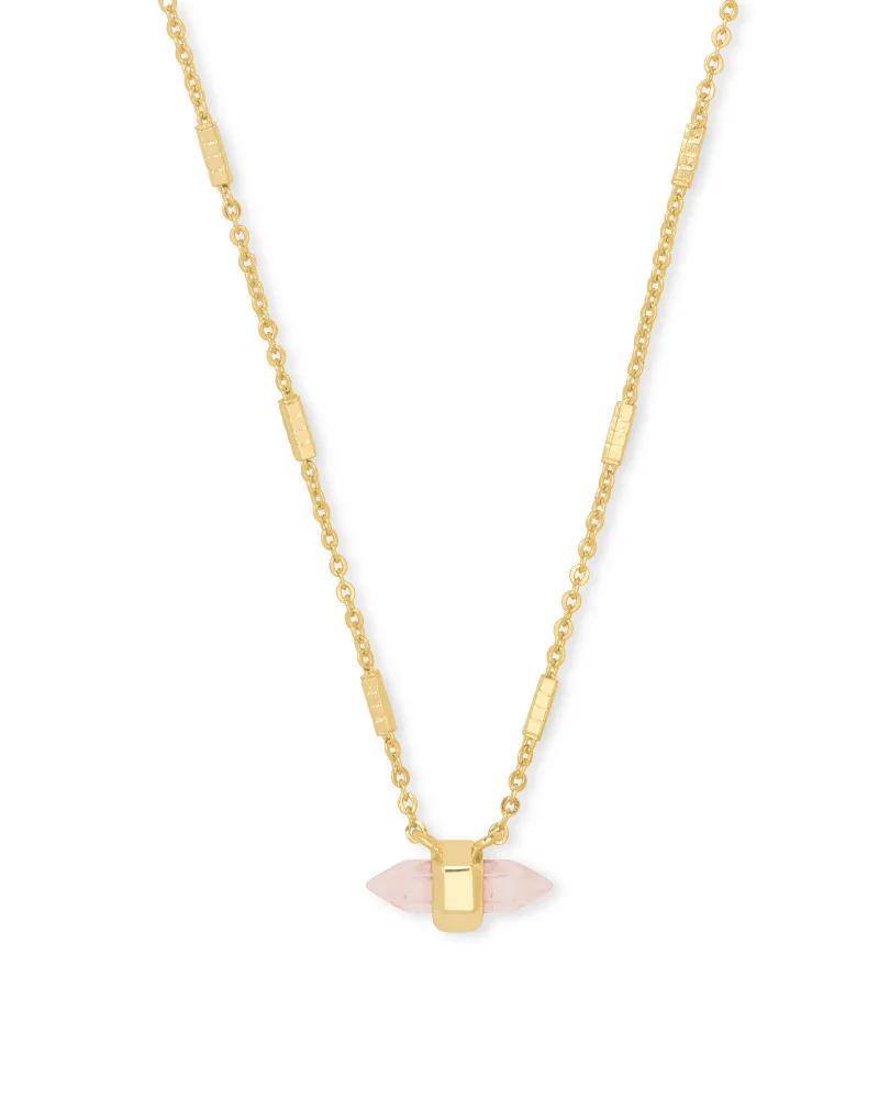 Kendra Scott Jamie Gold Pendant Necklace in Rose Quartz