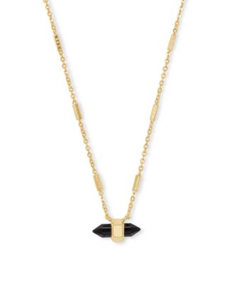 Kendra Scott Jamie Gold Pendant Necklace in Black Obsidian