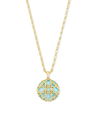 Kendra Scott Natalie Gold Long Pendant Necklace in Light Blue Magnesite