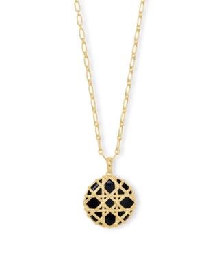 Kendra Scott Natalie Gold Long Pendant Necklace in Black Obsidian