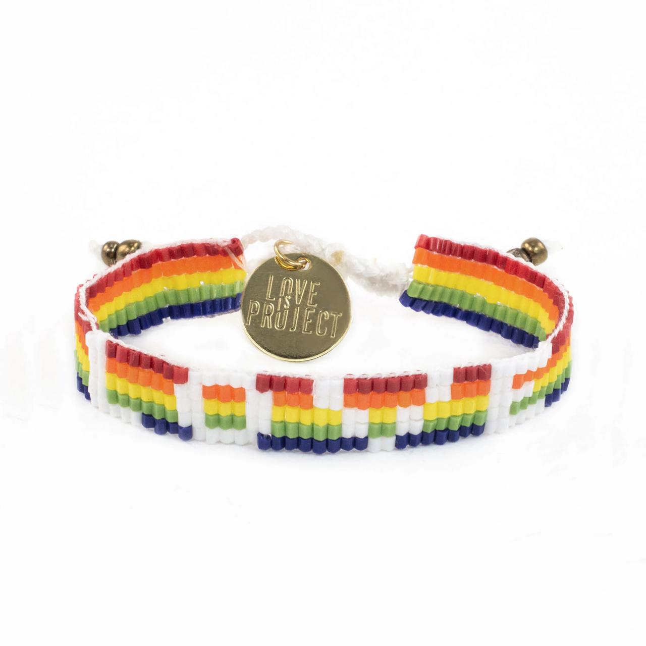Love is Project Seed Bead Love Bracelet - Rainbow