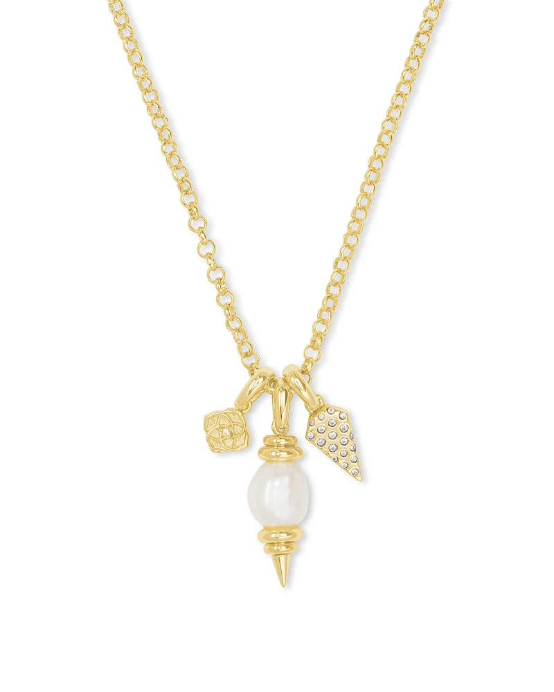 Kendra Scott Demi Gold Charm Necklace in White Baroque Pearl