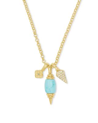 Kendra Scott Demi Gold Charm Necklace in Light Blue Magnesite