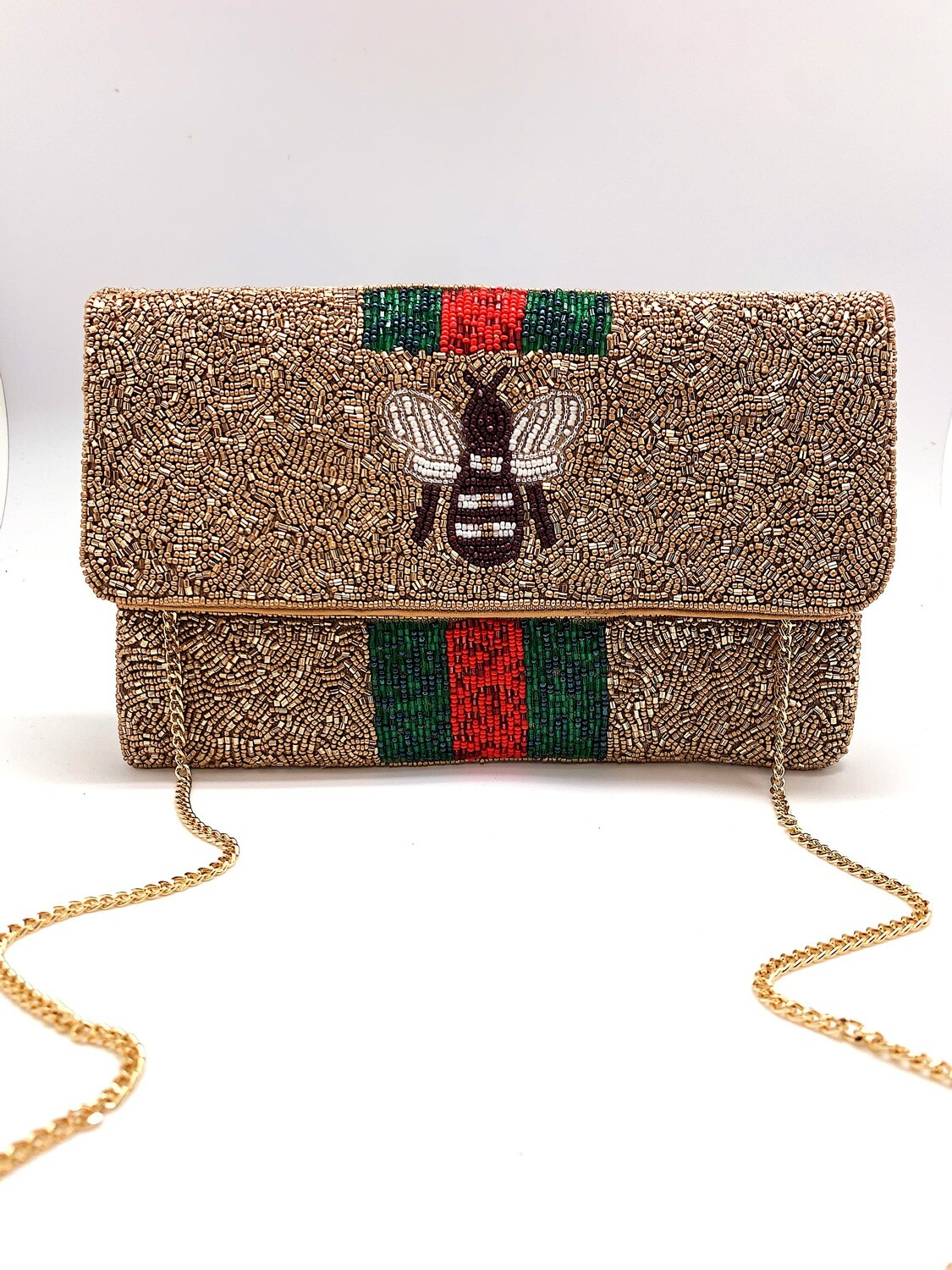 La Chic Bee You Gold Beaded Bag