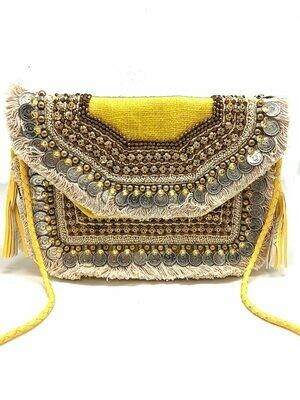 La Chic Yellow Boho Fringe Bag